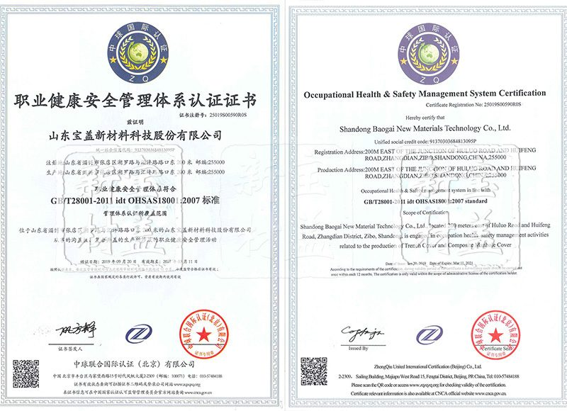 职业健康安全管理体系 注册号:25019S00590R0S